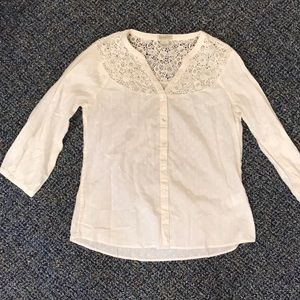 Lucky Brand White Speckle Lace Peasant Top